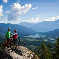 Taking in the stunning mountain views while biking
