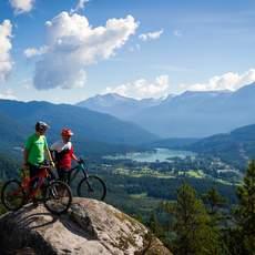 Taking in the stunning mountain views while biking