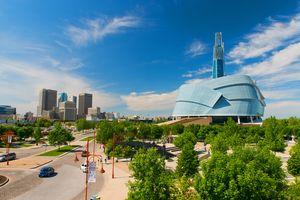Skyline mit dem Kanadischen Museum für Menschenrechte in Winnipeg