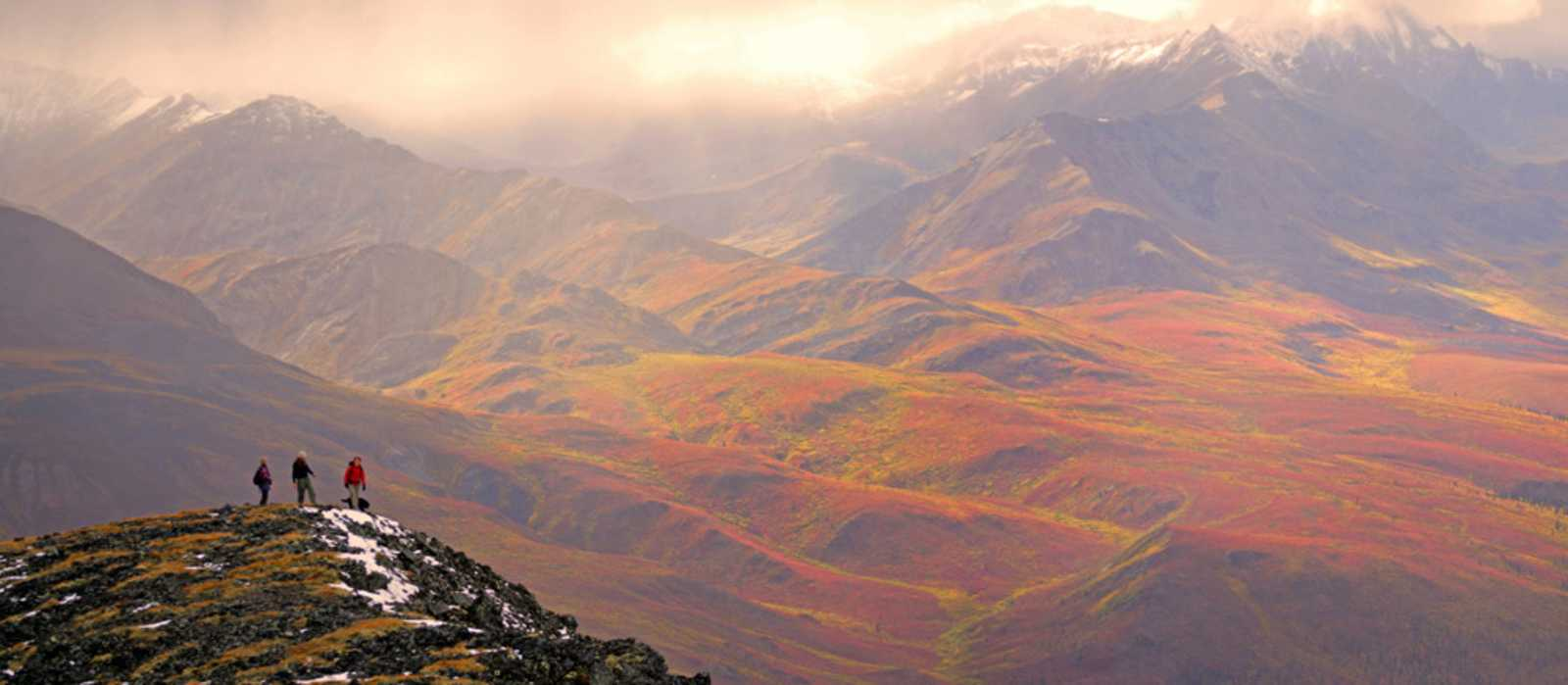hiking, autumn colours, Dempster Highway area, Tombstone Mountains