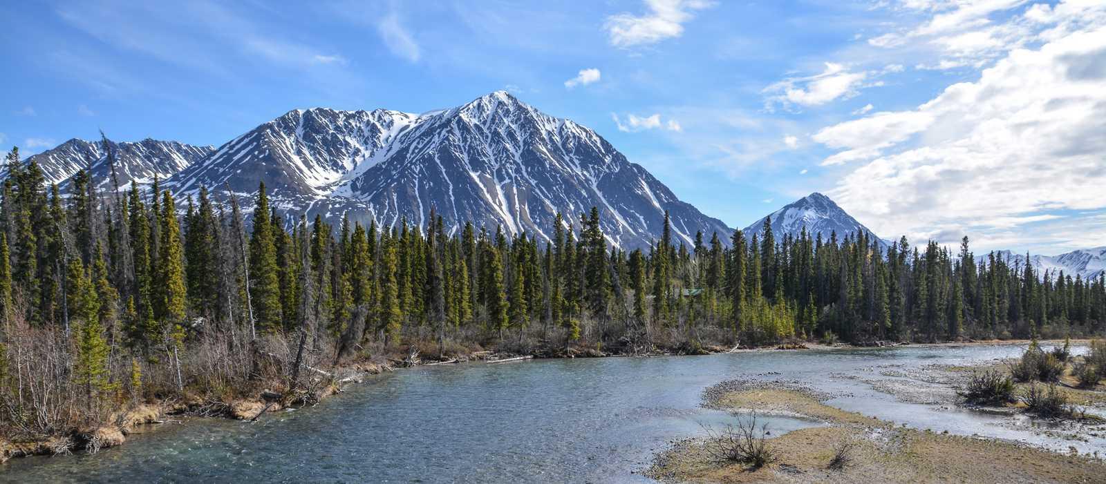 Aussicht auf das Bergpanorama des Kluane National Parks
