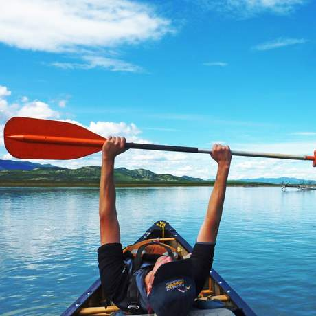 Kanutour auf dem Lake Laberge, Yukon Territory