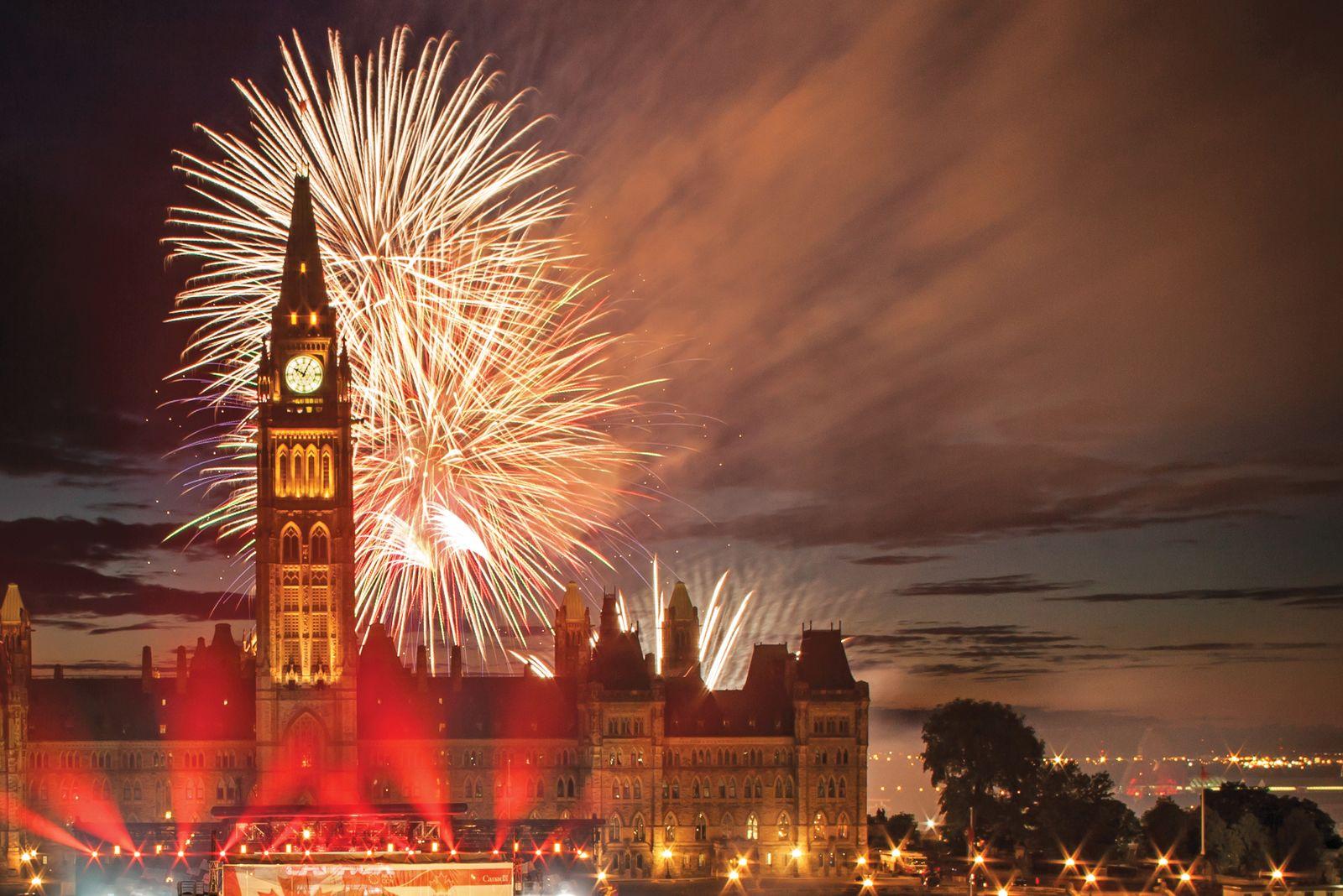 Feuerwerk in Ottawas Innenstadt