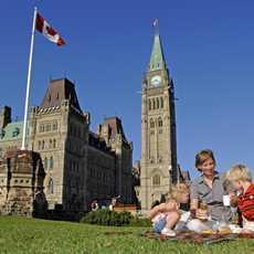 Picknick vor dem Parlament
