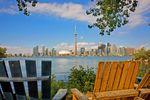 Aussicht vom Park auf die Skyline von Toronto