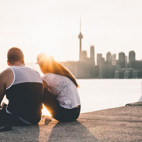 Sonnenuntergang über der Skyline von Toronto, Ontario