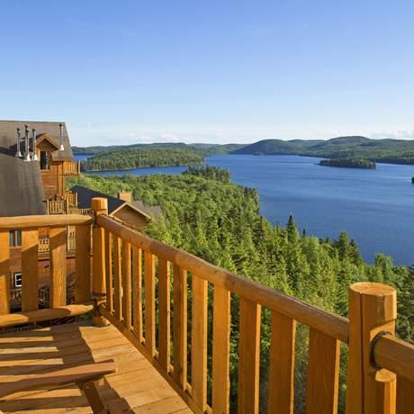 Blick auf den Sacacomie Lake, Quebec
