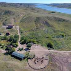 Luftaufnahme der La Reata Ranch in Kyle, Saskatchewan