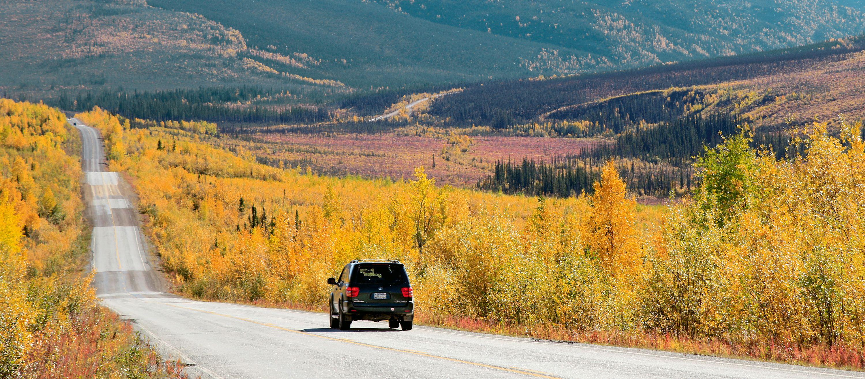 Ein Highway in Alaska in herbstlichen Farben