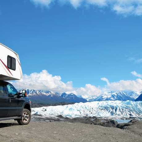 Kurze Pause mit Blick auf die Gletscher