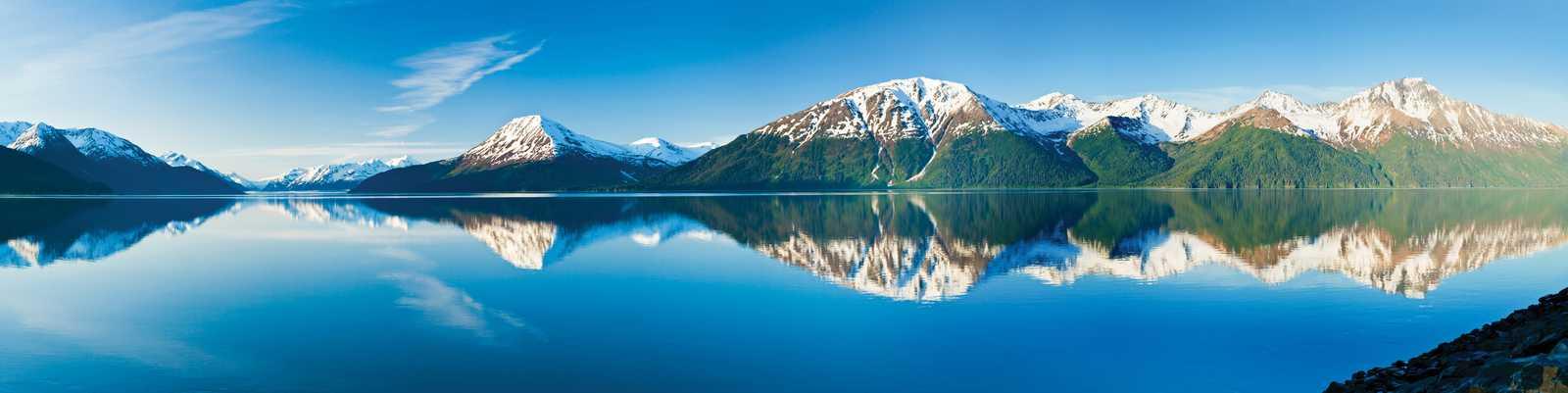 Alaska summer scenic, panoramic, Turnagain Arm, Kenai Mountains, high tide, from near Bird Pt. Chugach SP