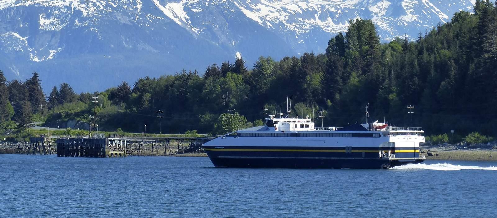 Fairweather Ak Ferry auf dem Weg von Skagway nach Haines, Alaska