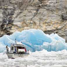 The crew of the Wild Alaska navigates through ice bergs to the snout of the Sawyer Glacier in Tracy Arm. On a day-trip to Tracy Arm and the Sawyer Glacier with Adventure Bound out of Juneau, Alaska.