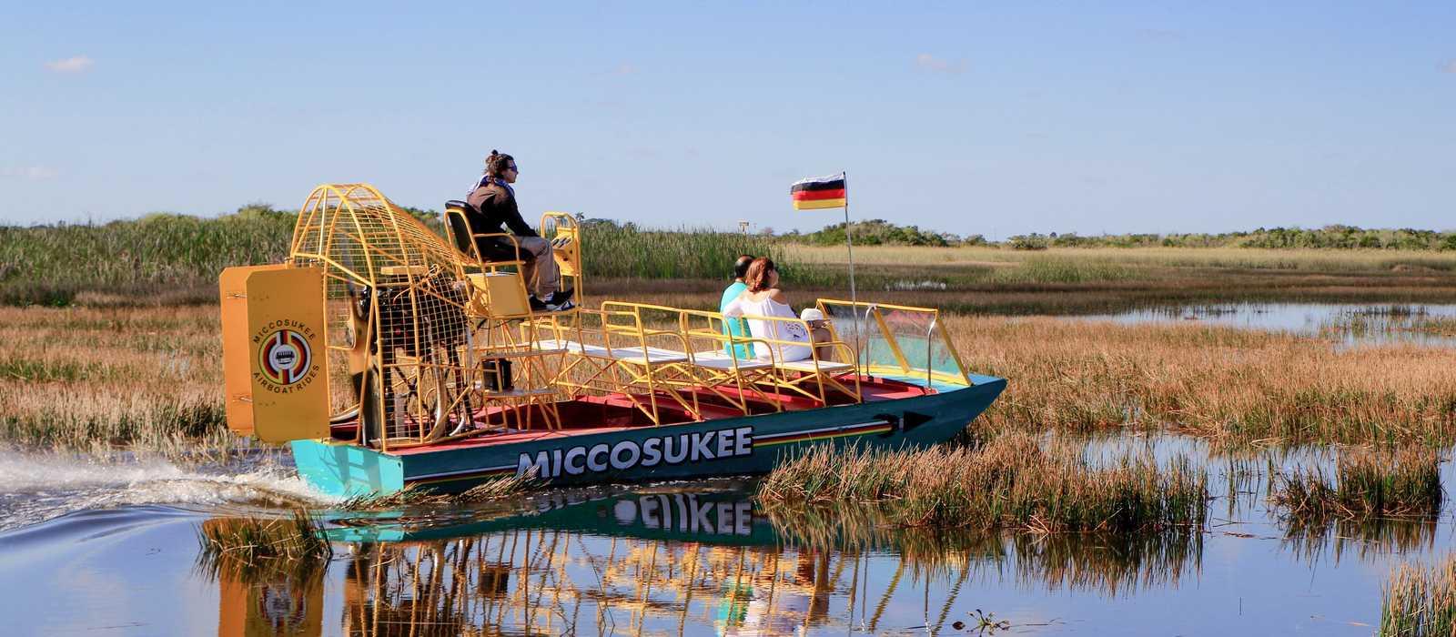 Eine Bootstour mit Miccosukee Indian Village Airboat Rides im Everglades-Nationalpark in Florida