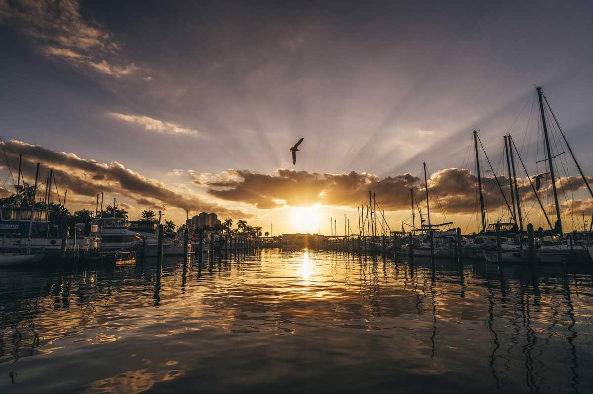 Ein Yachthafen von Fort Myers bei Sonnenuntergang