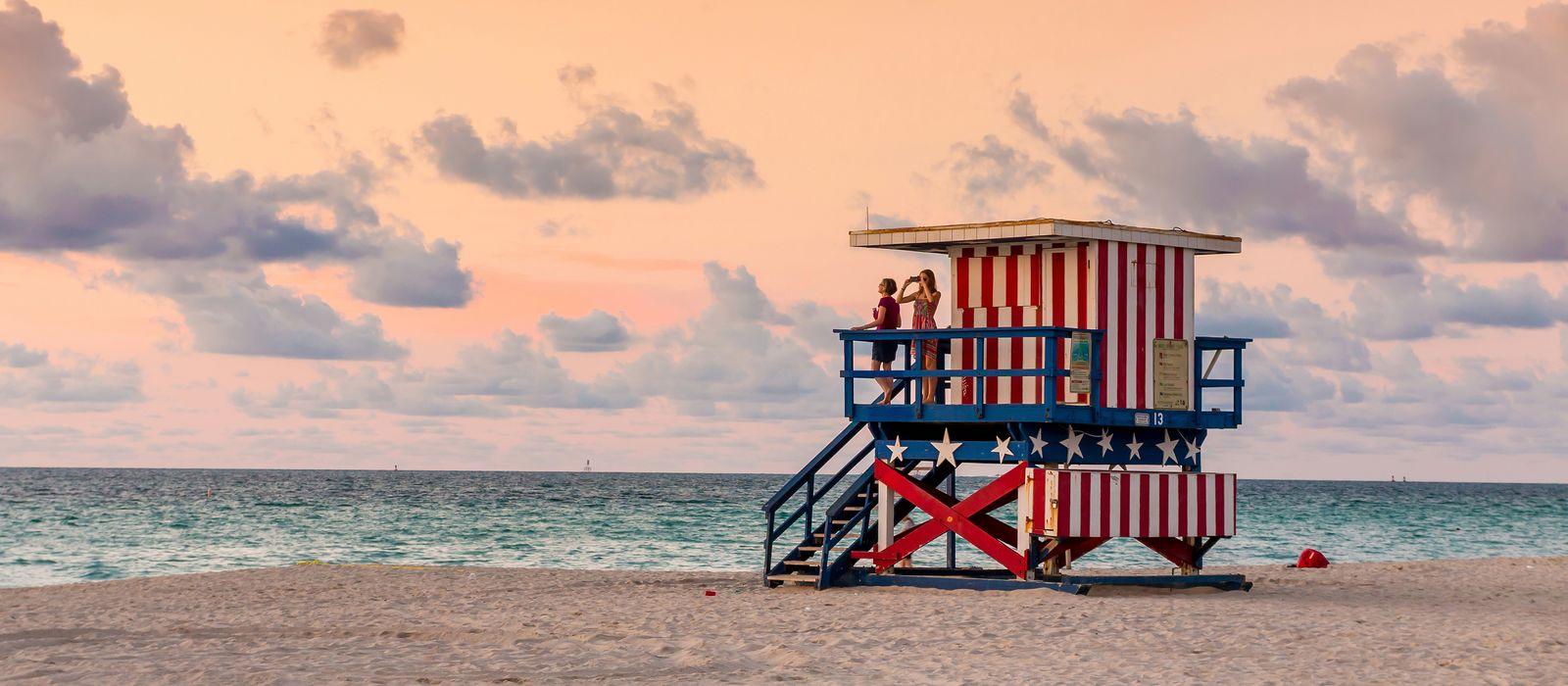 Colorful Lifeguard Tower in South Beach, Miami Beach, Florida