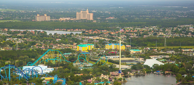 Luftaufnahme von einem Freizeitpark in Orlando, Florida
