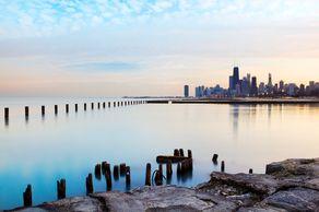 Chicagos Skyline und der Lake Michigan