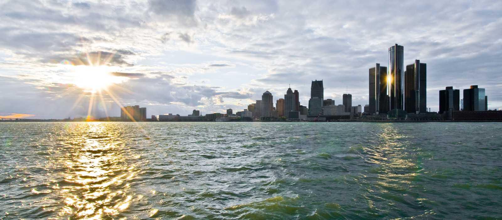 Ausblick auf die Skyline von Detroit