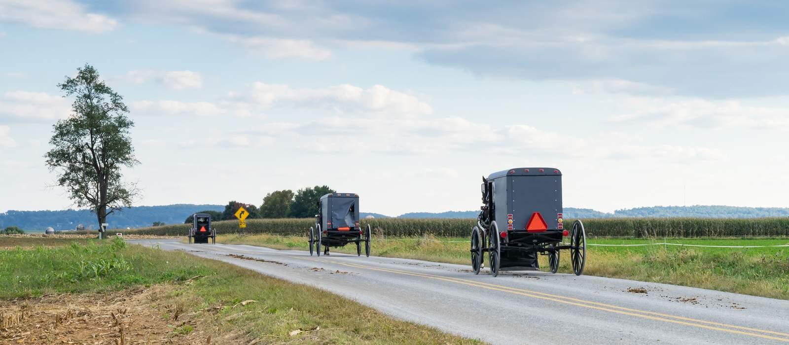 Amish Pferdekutschen in Pennsylvania