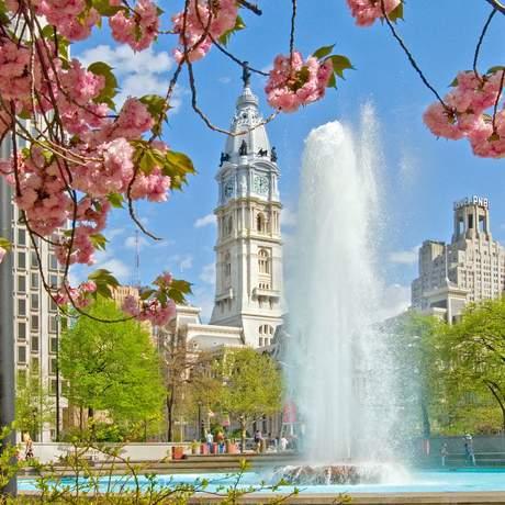 Springbrunnen im Love Park