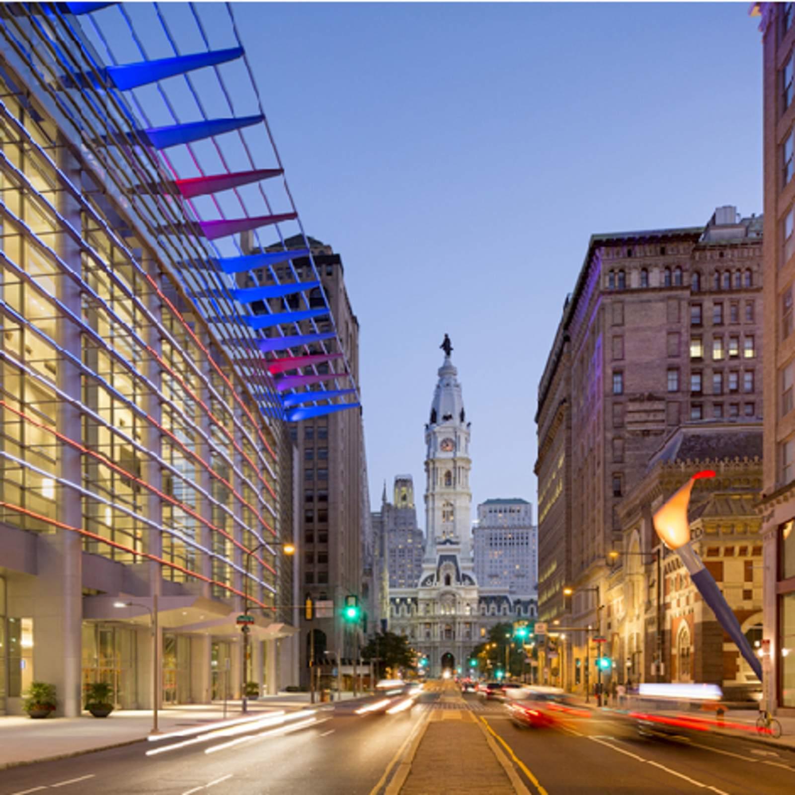 Seitenansicht des Convention Center in Philadelphia, Pennsylvania