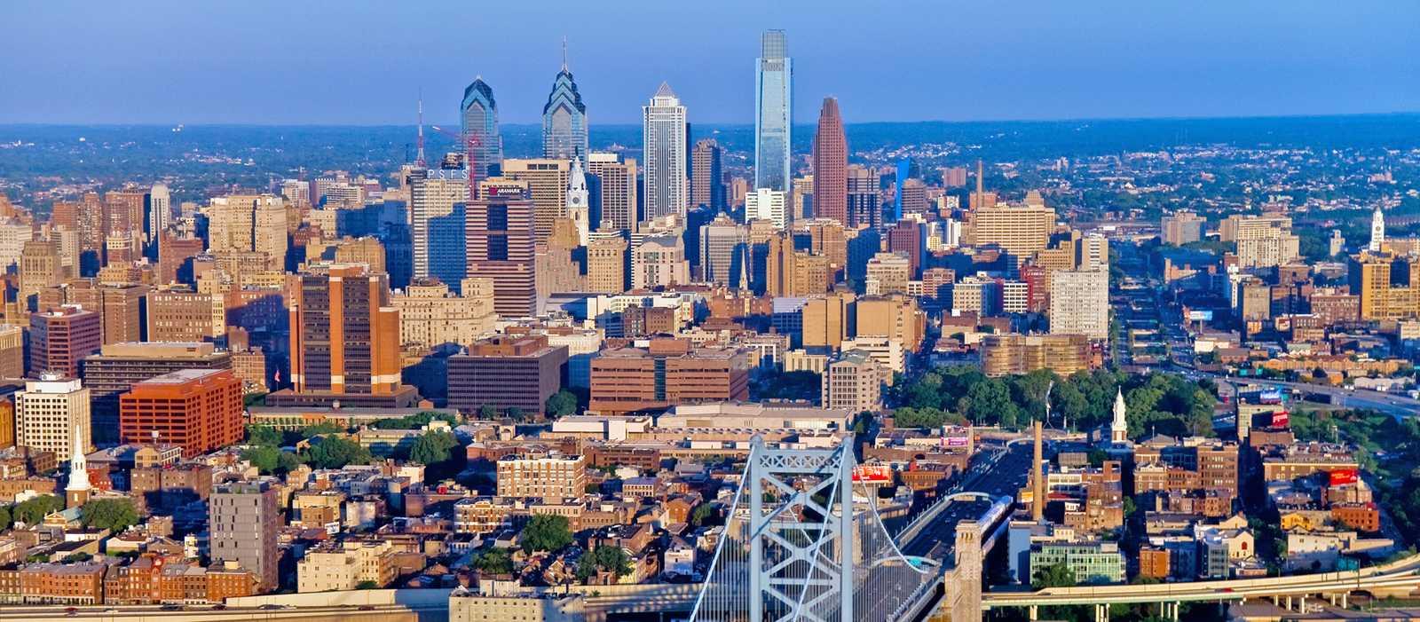 Blick von New Jersey auf Philadelphia