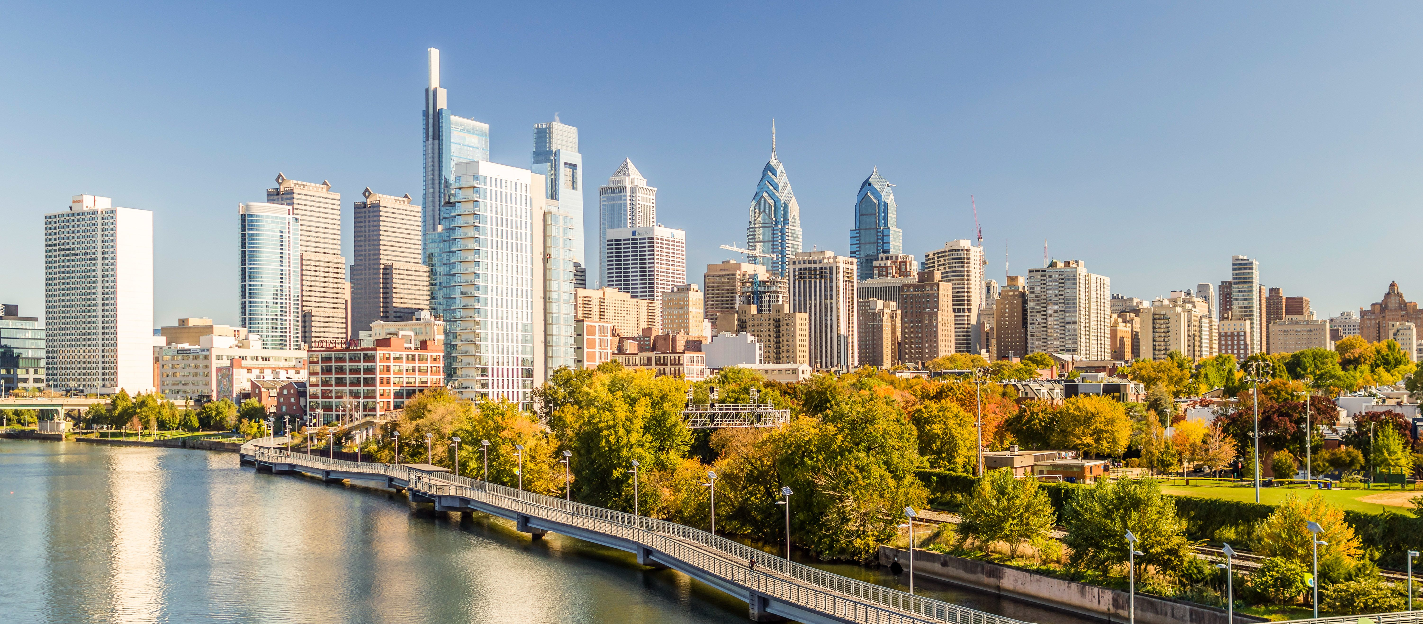 Die Skyline von Philadelphia in Pennsylvania