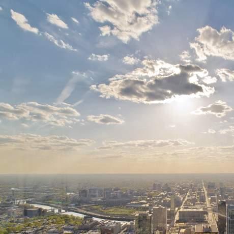 Der Blick auf das One Liberty Observation Deck in Philadelphia