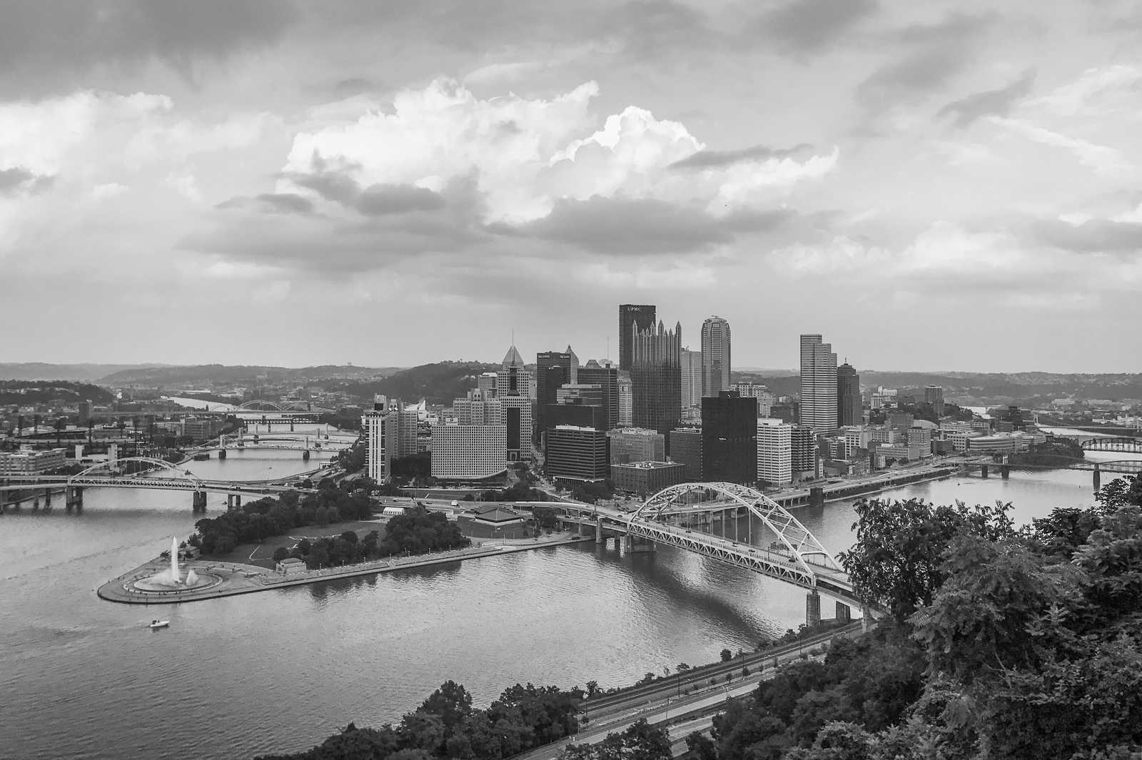 Ausblick auf den Point State Park in Pittsburgh