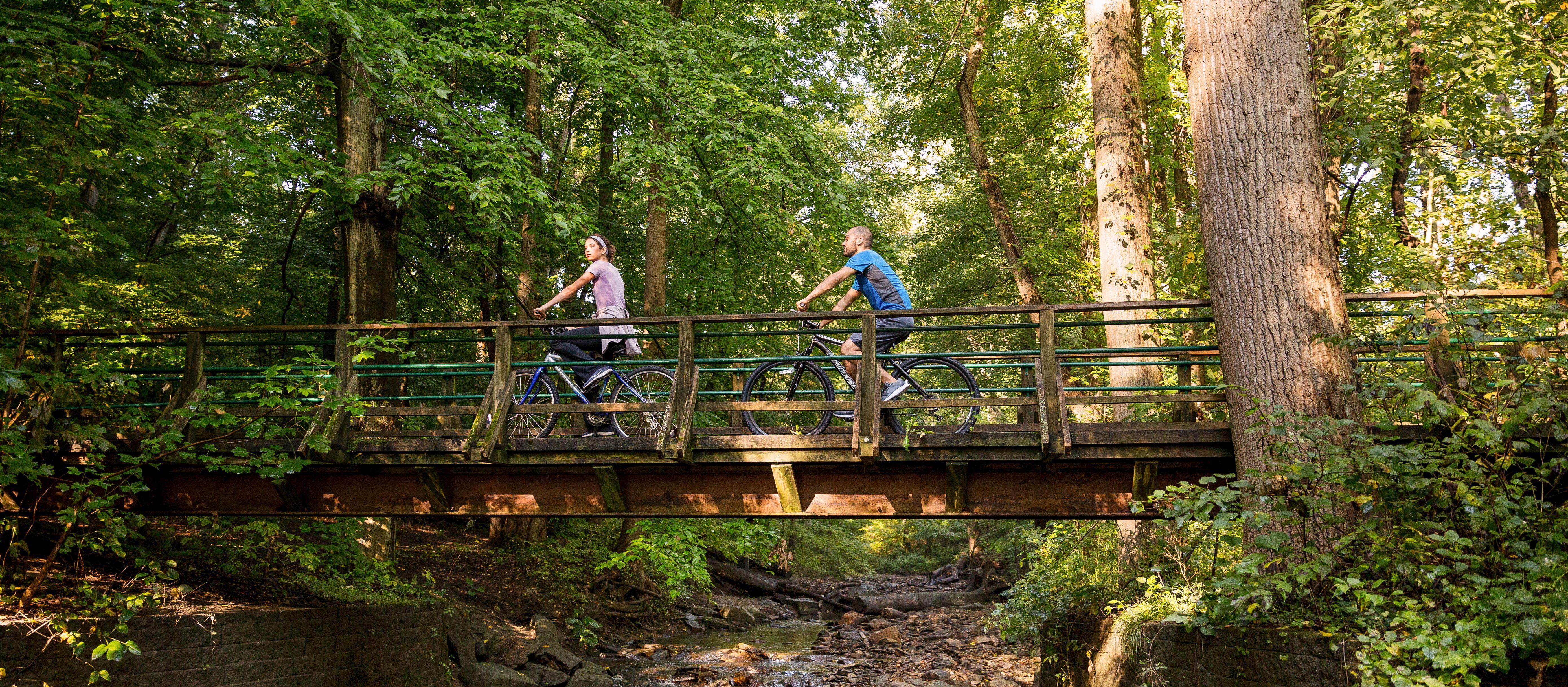 Eine Fahrradtour durch die Siedlung Valley Forge in Pennsylvania