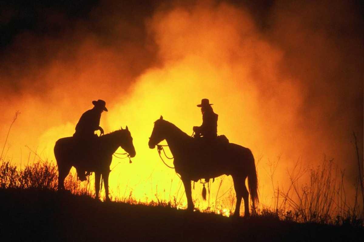 Flying W Flames in Flint Hills, Kansas