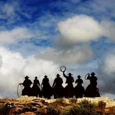 Cowboy Silhoutten bei Dodge City
