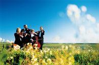 Musiker spielen in der Prärie Oklahomas, mittlerer Westen, USA