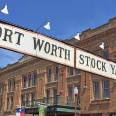 Der Eingang zum Stockyards Visitor Center in Fort Worth