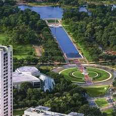 Der Hermann Park in Houston aus der Vogelperspektive