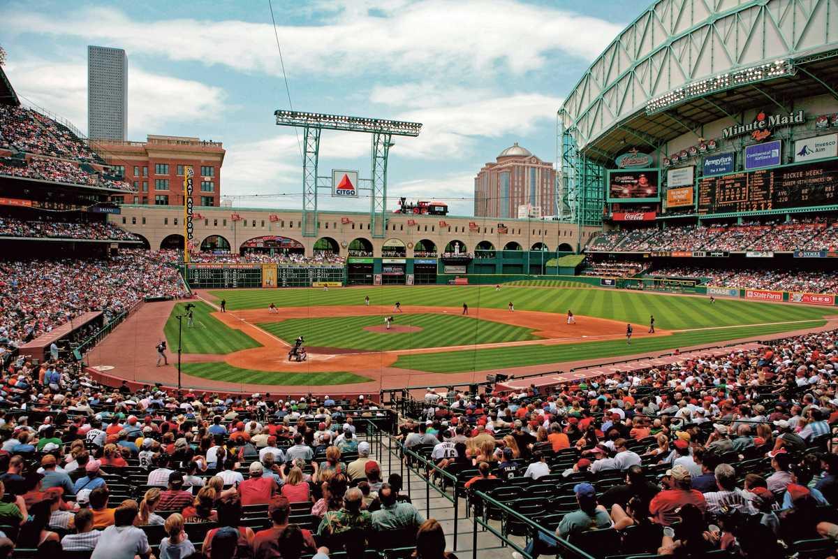 Das Minute Maid Park Baseballstadion in Houston im US-Bundesstaat Texas