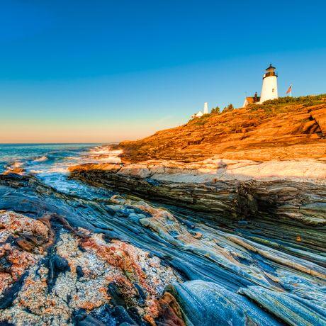 Sonnenaufgang am Pemaquid Point Lighthouse, Maine