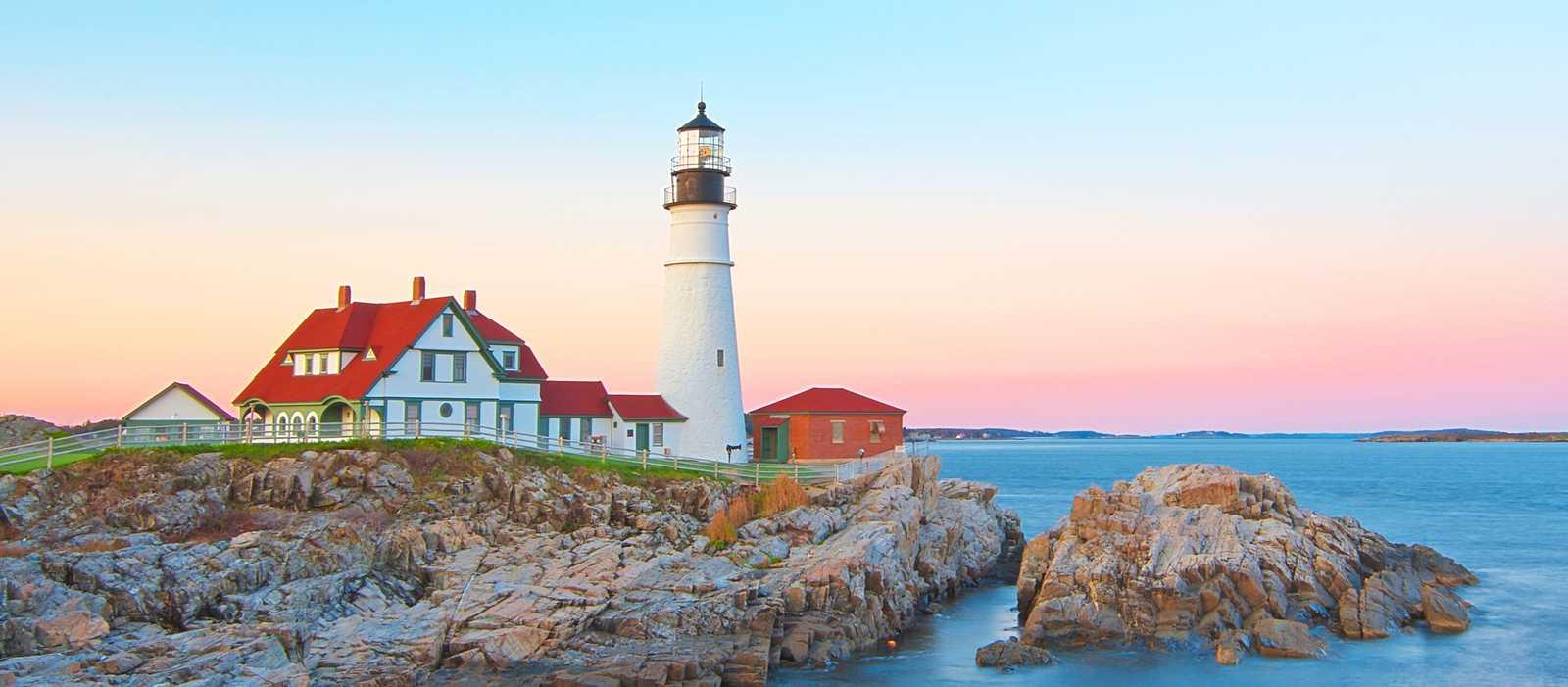 Sonnenuntergang beim Portland Head Lighthouse