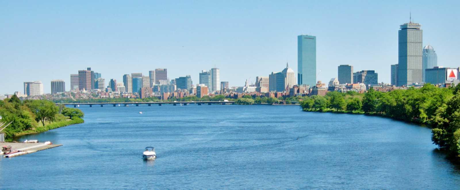 Blick auf Back Bay und Downtown Boston