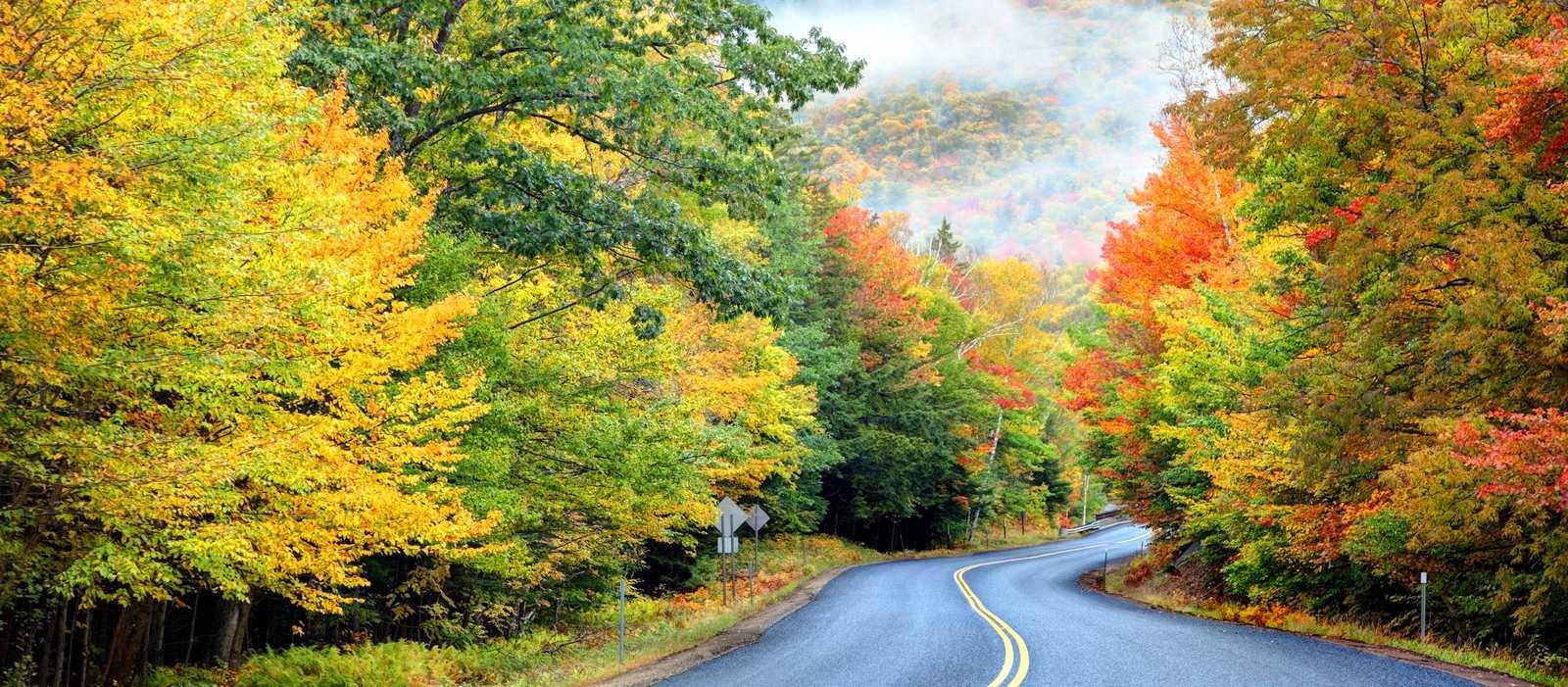 Herbstliche Farben zieren den Kancamagus Highway in den White Mountains, New Hampshire