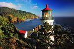 Blick auf das Heceta Head Lighthouse in Oregon im Nordwesten der USA