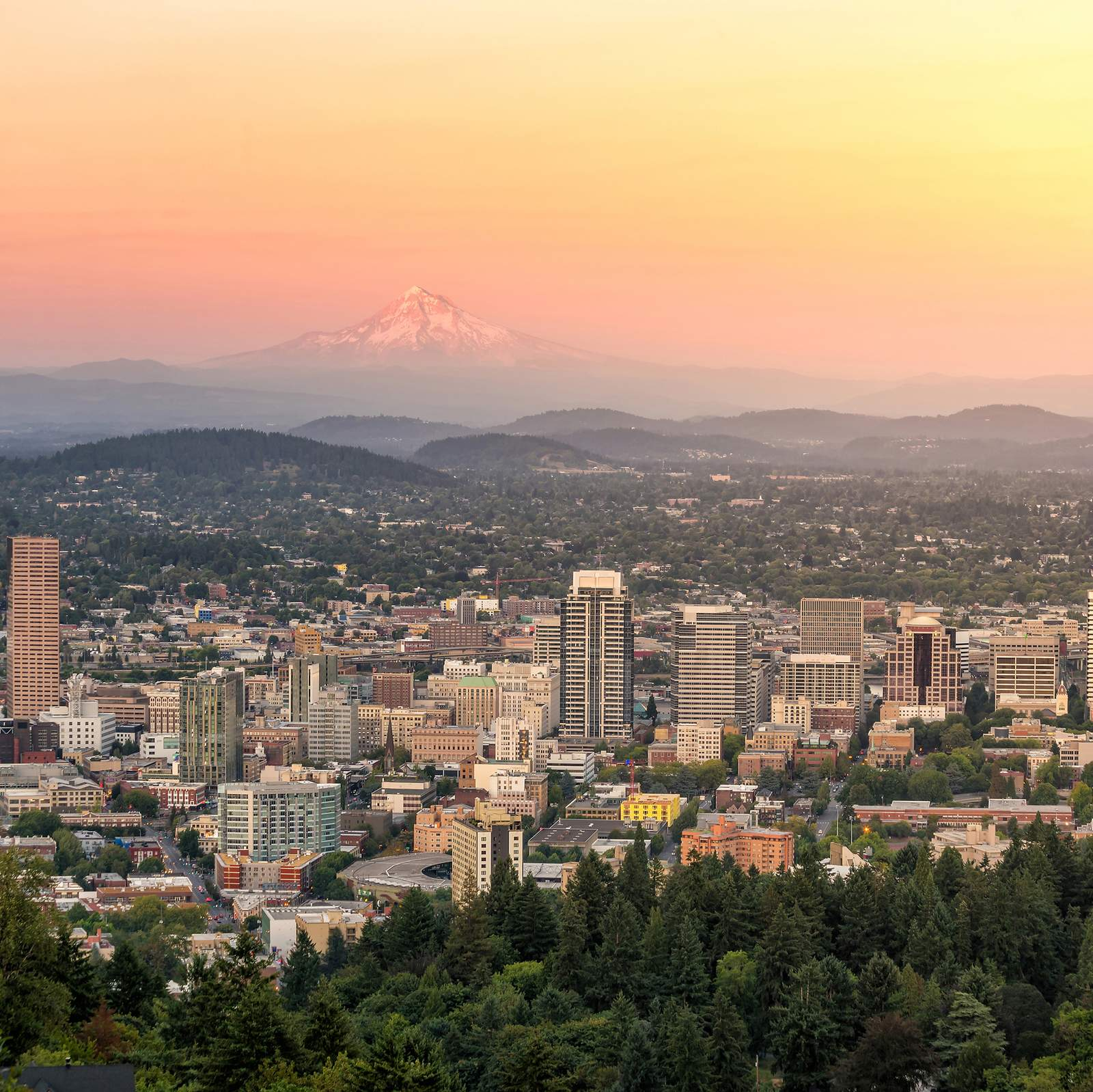 Sonnenuntergang Downtown Portland, Oregon