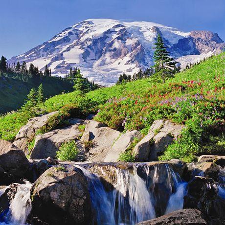Wasserfall am Mount Rainier
