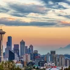 Seattle Skyline bei Sonnenuntergang