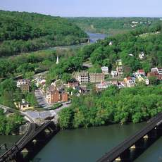 View of Harpers Ferry National Historical Park from Maryland Heights. Harpers Ferry, Jefferson Co., WV Photo By: David Fattaleh - WV Tourism