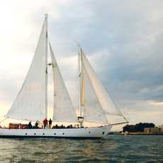 Sailing on the Shearwater in front of the Statue of Liberty, New York Harbor. Photo: Tobias Everke 9/06 , The Shearwater sailing in New York harbor.