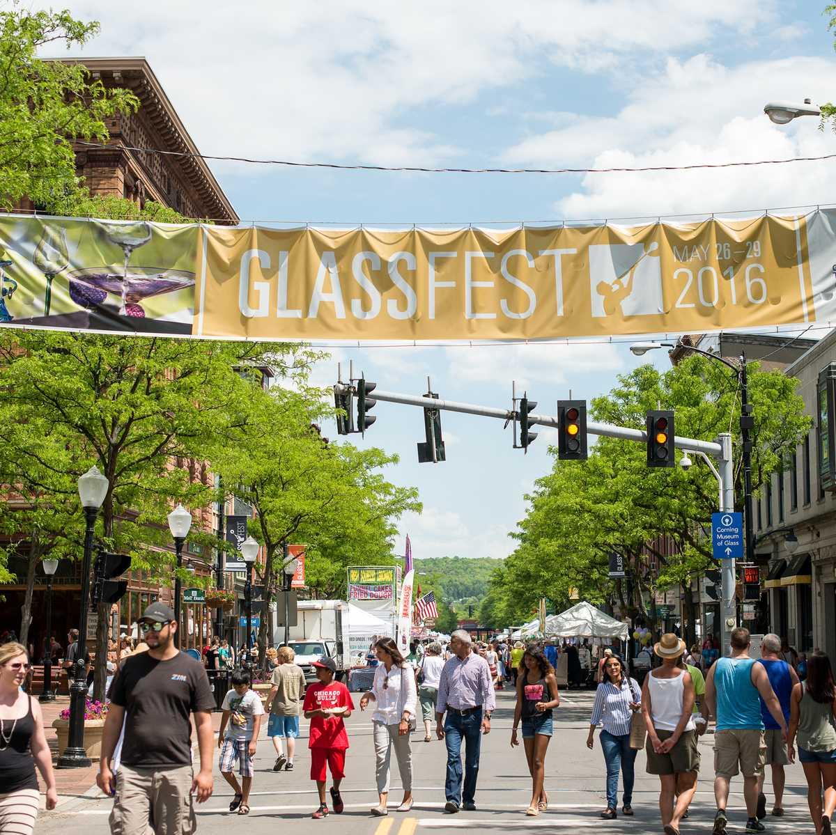 Das Glassfest im Gaffer Distict von Corning in den USA