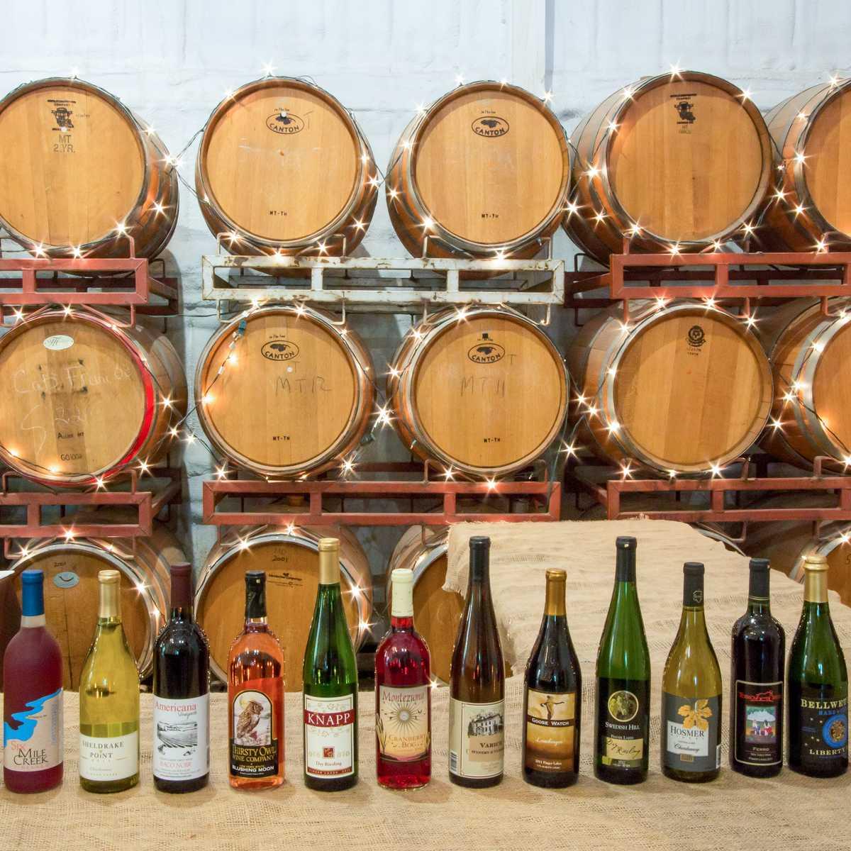 Die unterschiedlichsten Weine aus dem Finge Lakes Weinanbaugebiet im US Bundesstaat New York