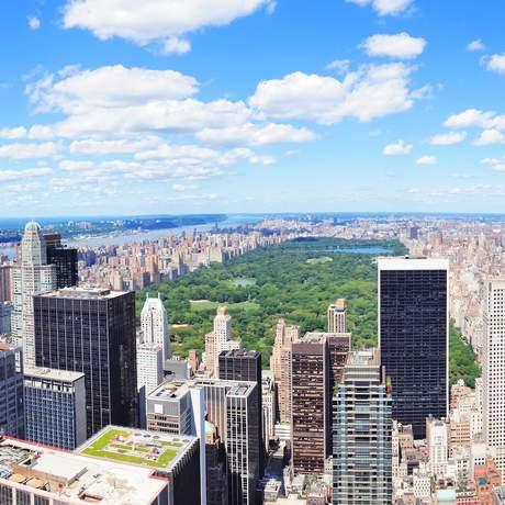 Hochhäuser und Central Park aus der Vogelperspektive, New York City